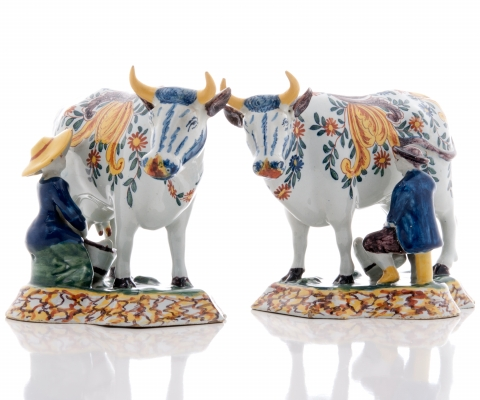 A Pair of Polychrome Milking Groups