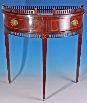 Louis XVI style mahogany demi lune table, Dutch ca. 1850