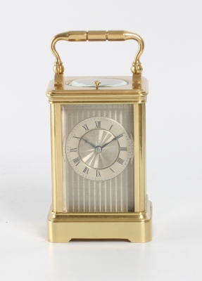 A small French brass striking carriage clock, circa 1860