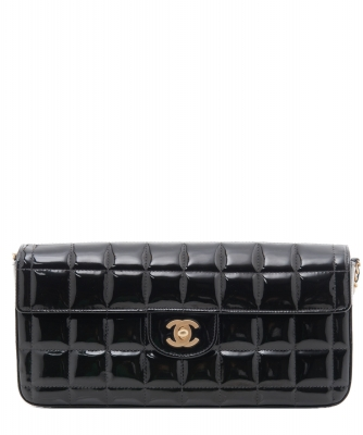 Chanel 'East West' Flap Bag in Black Quilted Patent Leather - Chanel