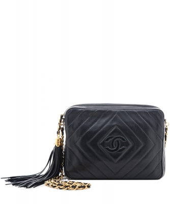 Chanel 'Camera Bag' in Black Chevron Quilted Leather Tassel - Chanel