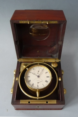 Attractive small marine chronometer by Winnerl, France, circa 1850.