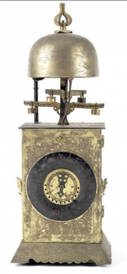 J07 A rare 18th century Japanese wall clock or 'Nicho Tenpu Yagura-dokei' with alarm and automatic change over of the twin foliot escapements