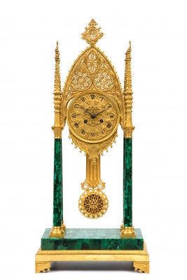 A russian neo-Gothic ormolu and malachite veneered mantel clock, circa 1830