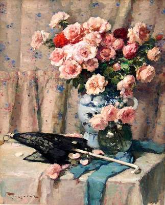 Still-Life of Roses - Fernand TOUSSAINT