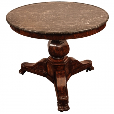 An attractive French Charles X mahogany table with marble top, circa 1830