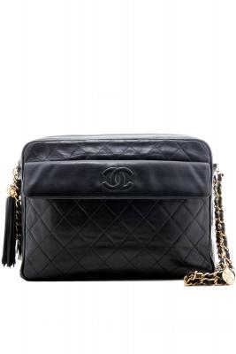Chanel Camera Schoudertas in Zwart Gematelasseerd Leder