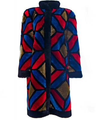 Christian Dior Colorful Shearling Patchwork Coat