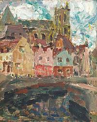 Les Maisons pres de l'eau, Amiens - Henri le Sidaner