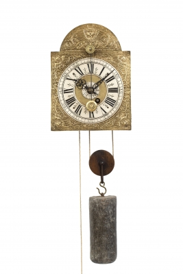 A Swiss brass and iron 'Kuhschwanz' alarm wall timepiece, circa 1720