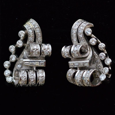 1940s Platinum earrings