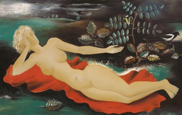 Reclining nude in landscape - Tinus van Doorn