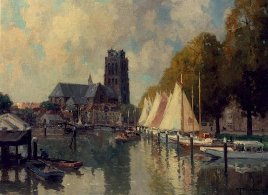 Nieuwe Haven in Dordrecht - G.J. (Gerard) Delfgaauw