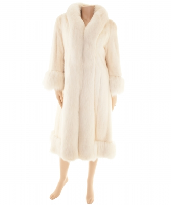 White Mink Full Length Coat with Fox Trim - Designer Unknown