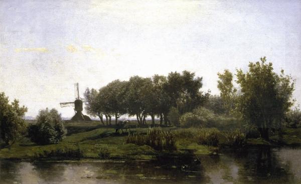Summer landschap with mill - P.J.C. (Paul) Gabriël