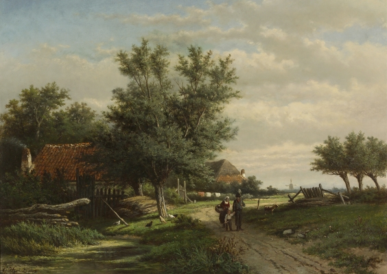 Man, woman and child on a path near farmhouses