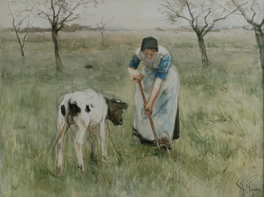 Farmer's wife from Laren with a little goat