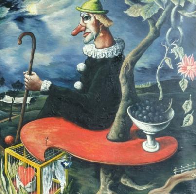 Clown op rood palet - Quirijn van Tiel
