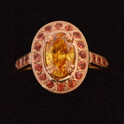 Fancy colour diamond ring