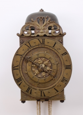 An early French brass lantern clock with balance, C.F. Suedois Angers, circa 1650