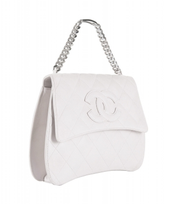 Chanel White Quilted Leather Handbag - Chanel