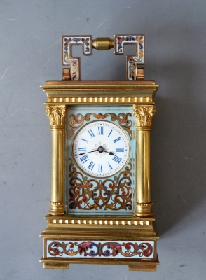 A characteristic French mini carriage clock, cloisonné -enamel decorations, gilt case, date ca 1891.