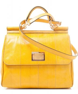 Dolce & Gabbana Yellow Snake Skin Miss Sicily Bag - Dolce & Gabbana