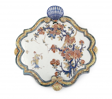 Dutch Delft chinoiserie plaque with lady with latern
