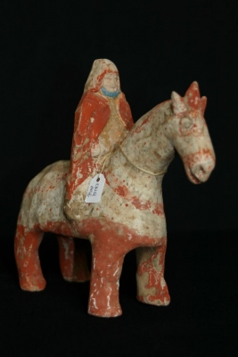 Antiek Chinees aardewerk sculptuur ruiter te paard