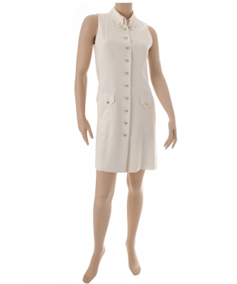 Chanel Off White Sleeveless Button Down Dress 97P - Chanel
