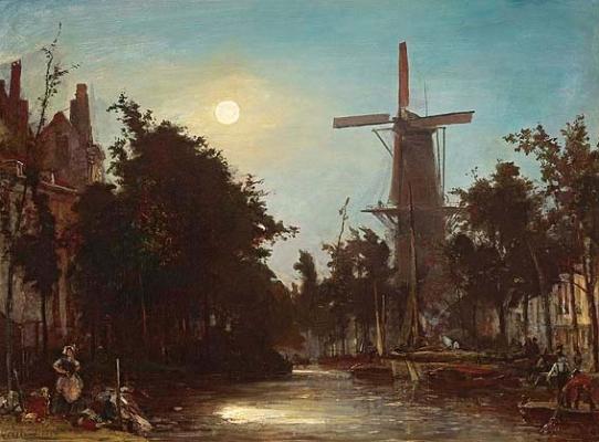 Lavandières au bord du canal, près de Rotterdam - Johan Bartold Jongkind