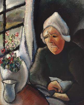Oude boerin voor het raam (Oude vrouw)