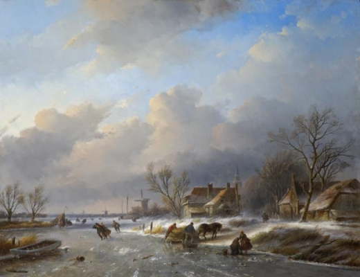 Landscape in winter-time with a working horse