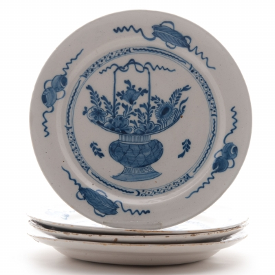 Set of Four Dishes in Blue and White Dutch Delftware