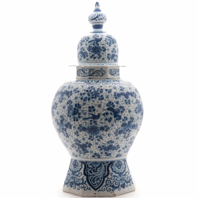 A Vase with Lit in Blue and White Dutch Delftware