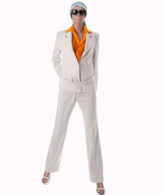 Yves Saint Laurent Ivory Wool Pantsuit