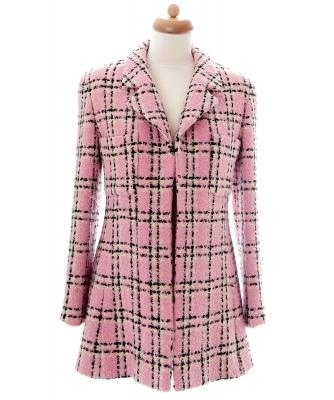 Chanel Roze, Zwart en Wit Geruite Jas - Chanel