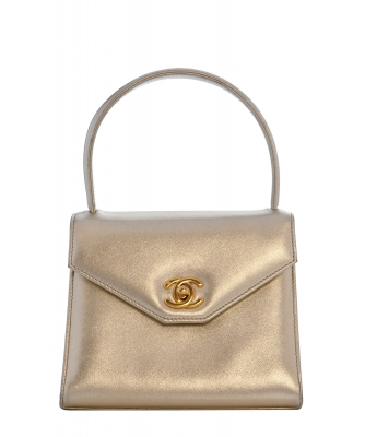 Chanel Metallic Gold Leather Mini Kelly Flap Bag - Chanel