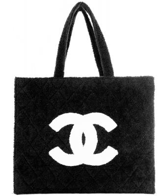 Chanel Strandtas in Zwarte Badstof - Chanel