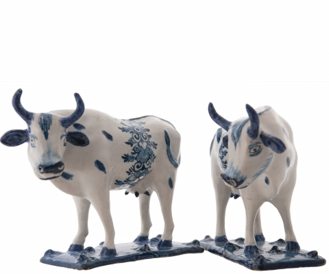 A Pair Blue and White Standing Cows in Dutch Delftware