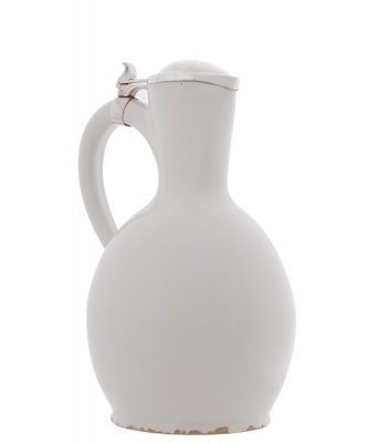 A Jug with Silver Lid in White Dutch Delftware