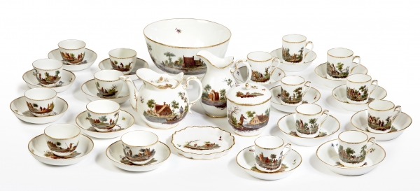 Amstel coffee and tea service with river landscape