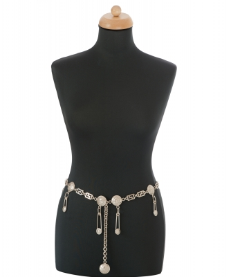 Spring 1994 Versace Silver Medusa 'Safety Pin' Chain Belt / Necklace - Gianni Versace