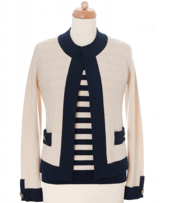 Chanel Cashmere Striped Twinset 97C - Chanel