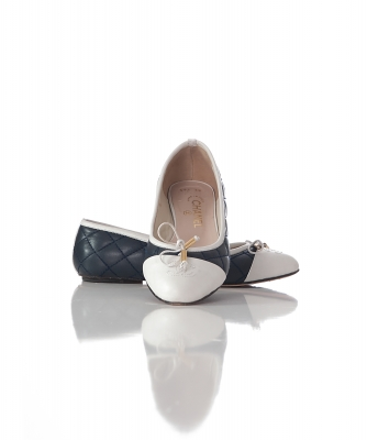 Chanel Blue Quilted Leather CC Cap Toe Ballet Flats