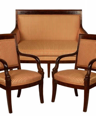 An Empire Bench and Eight Fauteuils