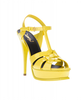 Yves Saint Laurent Tribute Sandals in Yellow Patent Leather