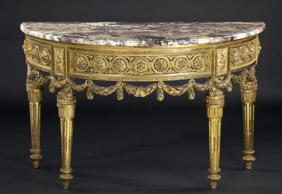 North-Italian Demi-lune Console Table, ca. 1775-1780