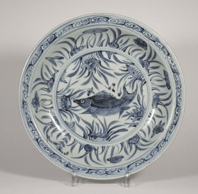Chinese porcelain large dish with underglaze blue painting of a carp among water plants.