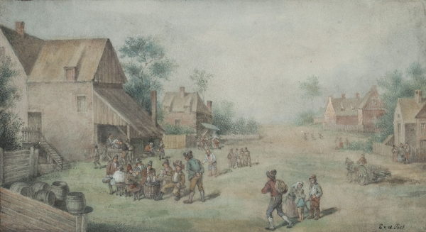Village scene with drinking farmers - Egbert Lievensz. van der Poel